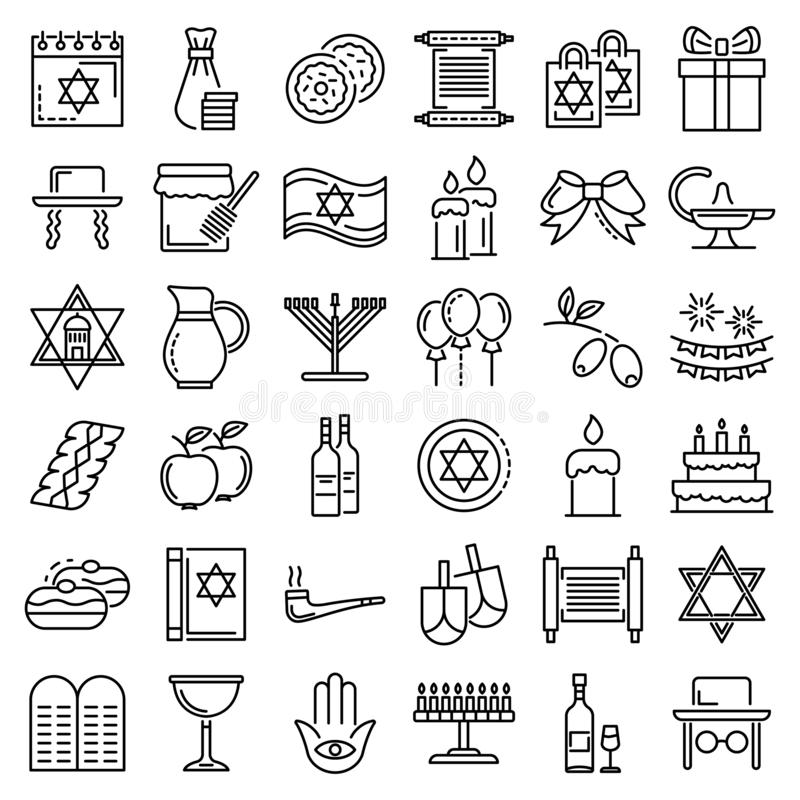 Grupo do ícone do Hanukkah, estilo do esboço ilustração royalty free