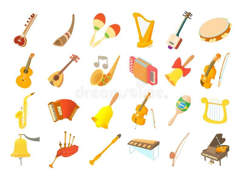 Grupo do ícone do instrumento musical, estilo dos desenhos animados ilustração stock