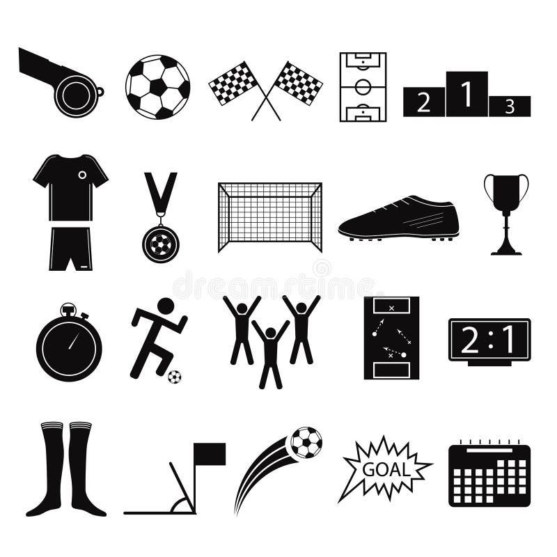 Grupo do ícone do jogo do futebol ou de futebol do preto da silhueta dos desenhos animados Vetor ilustração do vetor