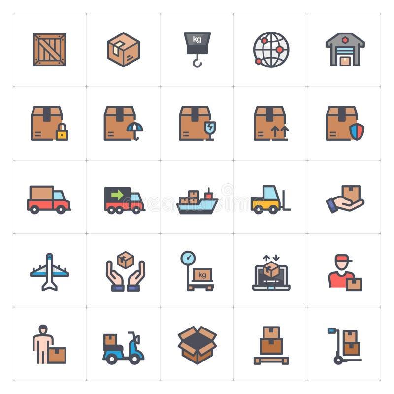 Grupo do ícone - logístico e cor completa da entrega ilustração royalty free