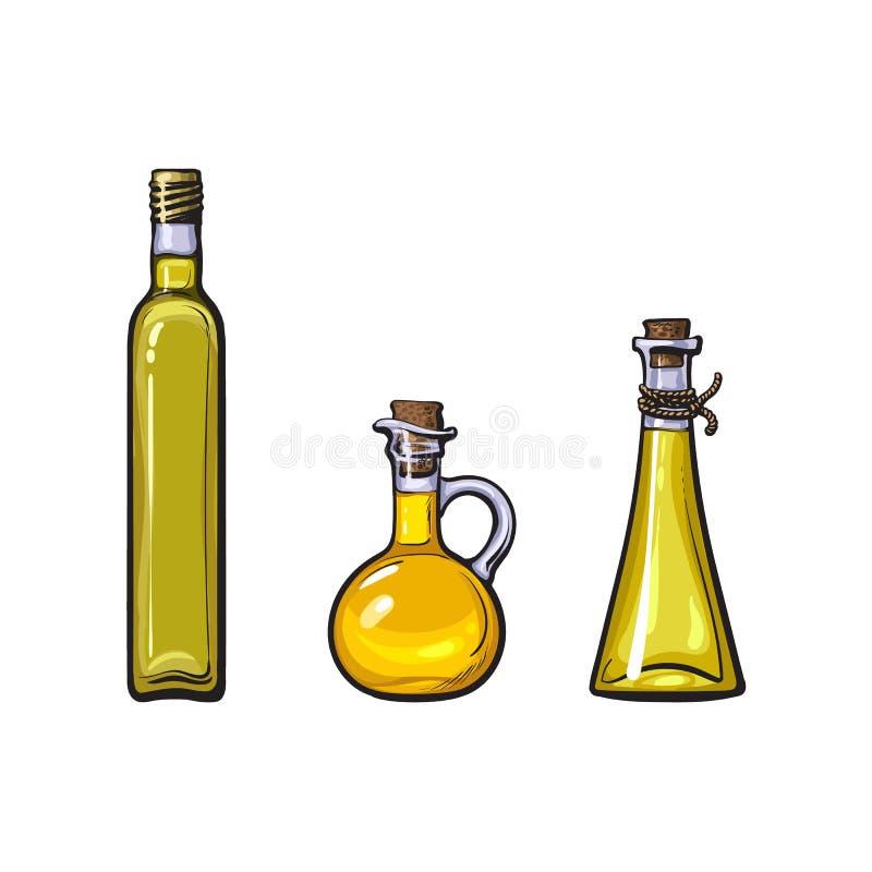 Grupo do ícone do logotipo do azeite do esboço do vetor isolado ilustração royalty free