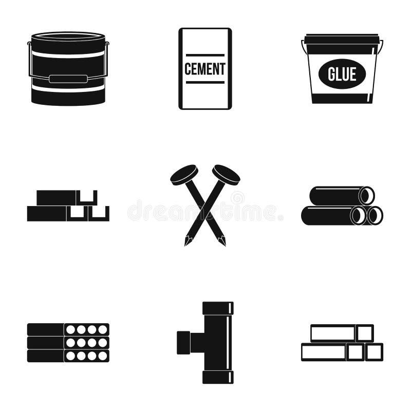Grupo do ícone do material de construção, estilo simples ilustração royalty free