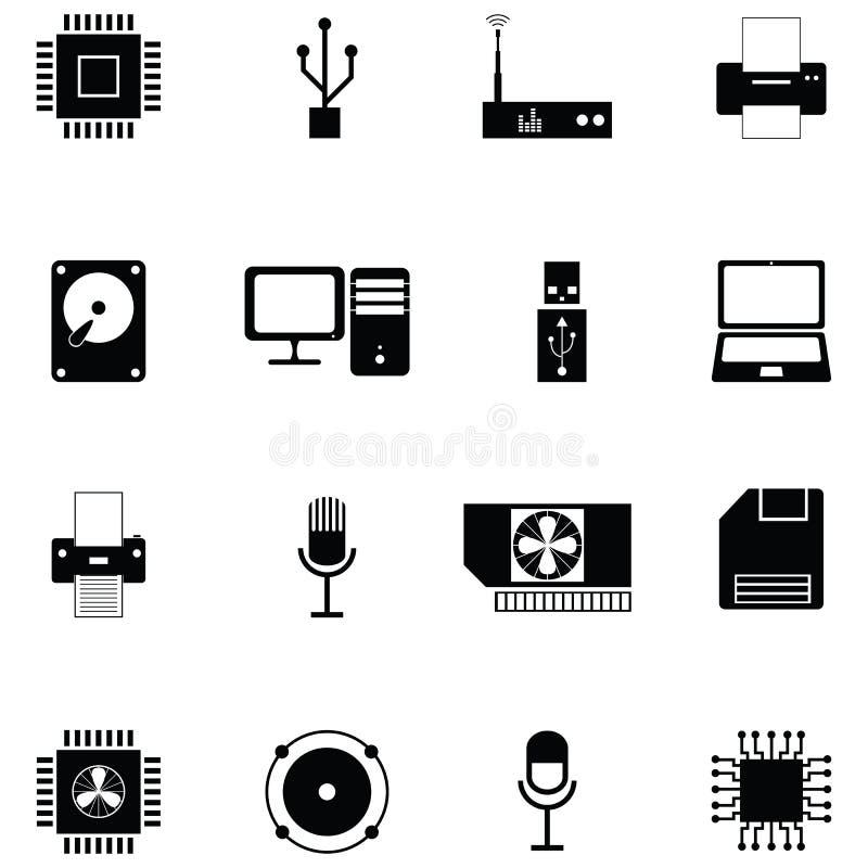 Grupo do ícone do material informático ilustração royalty free