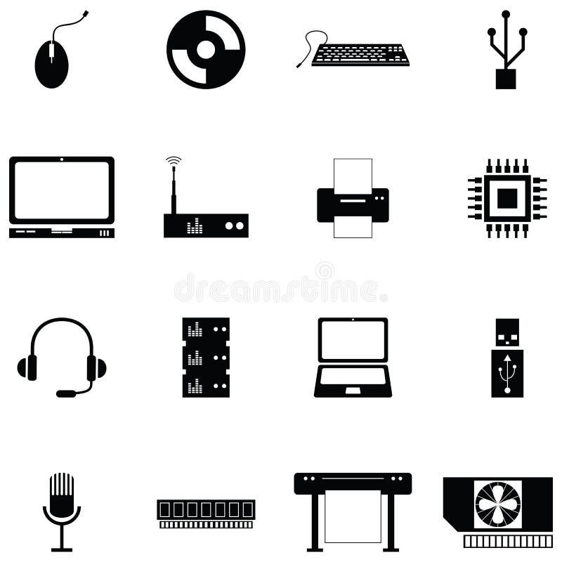 Grupo do ícone do material informático ilustração stock