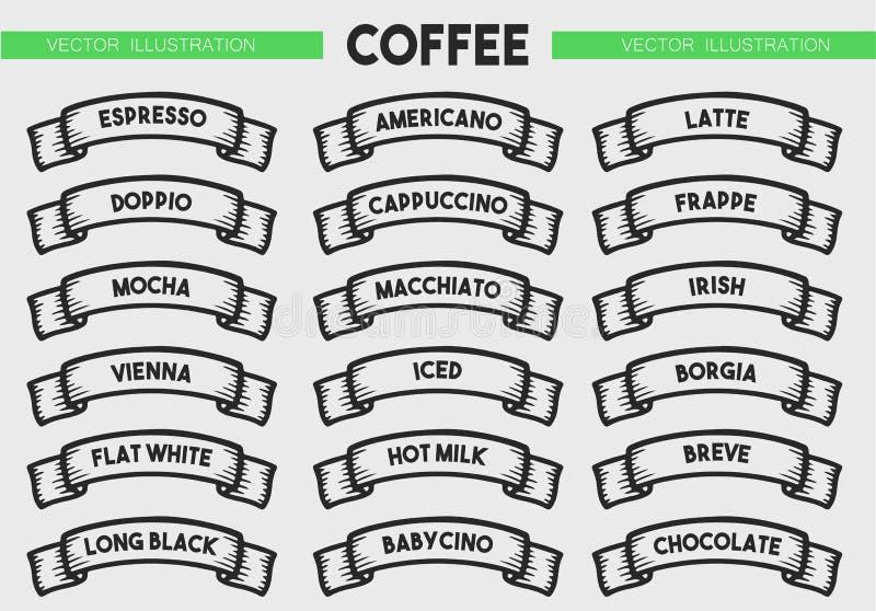 Grupo do ícone do menu do café ilustração do vetor