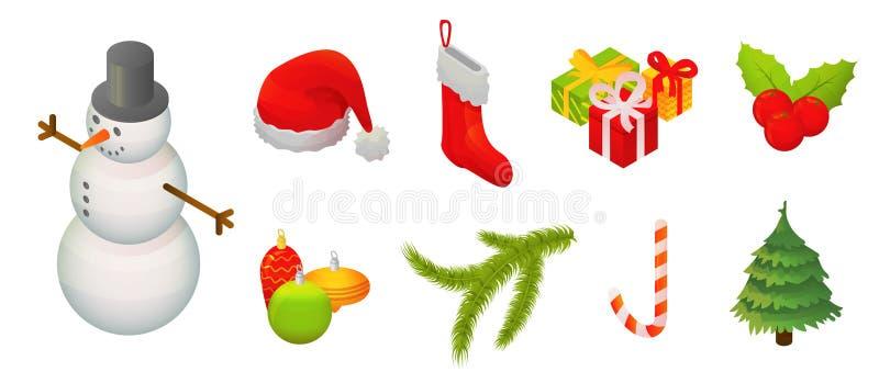 Grupo do ícone do Natal dos bonecos de neve, estilo isométrico ilustração royalty free