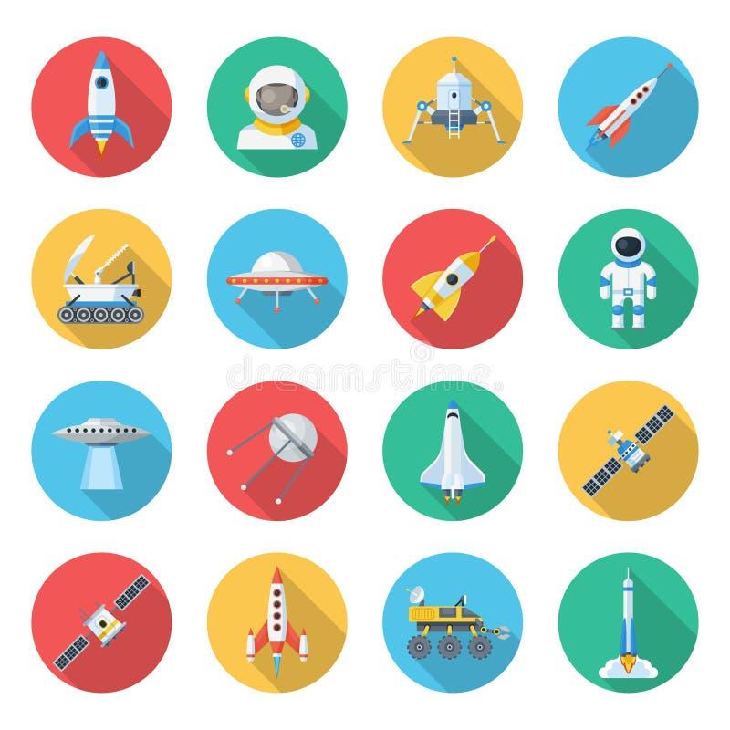 Grupo do ícone do navio de espaço ilustração stock