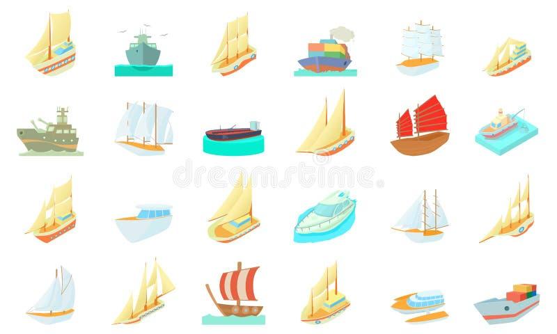 Grupo do ícone do navio, estilo dos desenhos animados ilustração royalty free