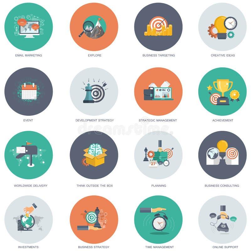 Grupo do ícone do negócio e da tecnologia Ilustração lisa do vetor ilustração royalty free