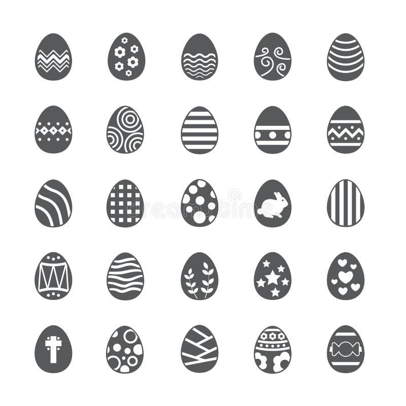 Grupo do ícone do ovo da páscoa ilustração do vetor