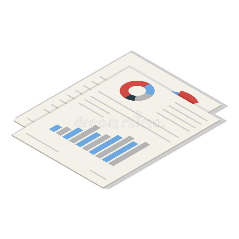 Grupo do ícone do papel de gráfico do escritório, estilo isométrico ilustração do vetor