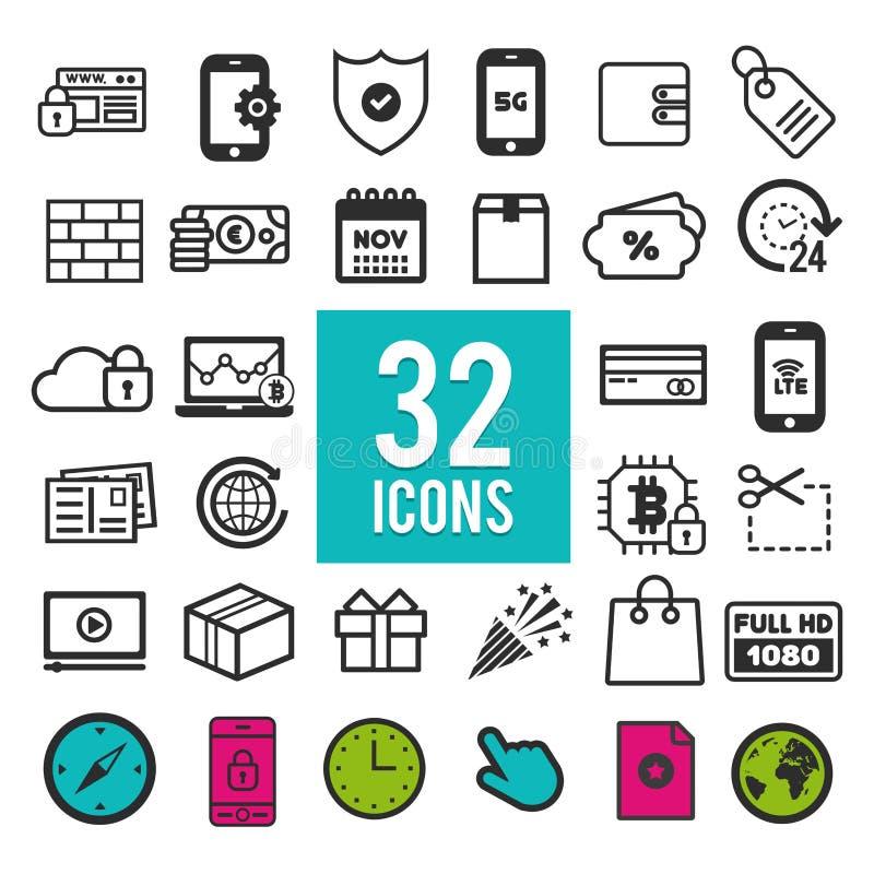 Grupo do ícone para a Web e apps móveis - computador - meios - mercado - uma comunicação - curso - compra - negócio - finança - t ilustração stock