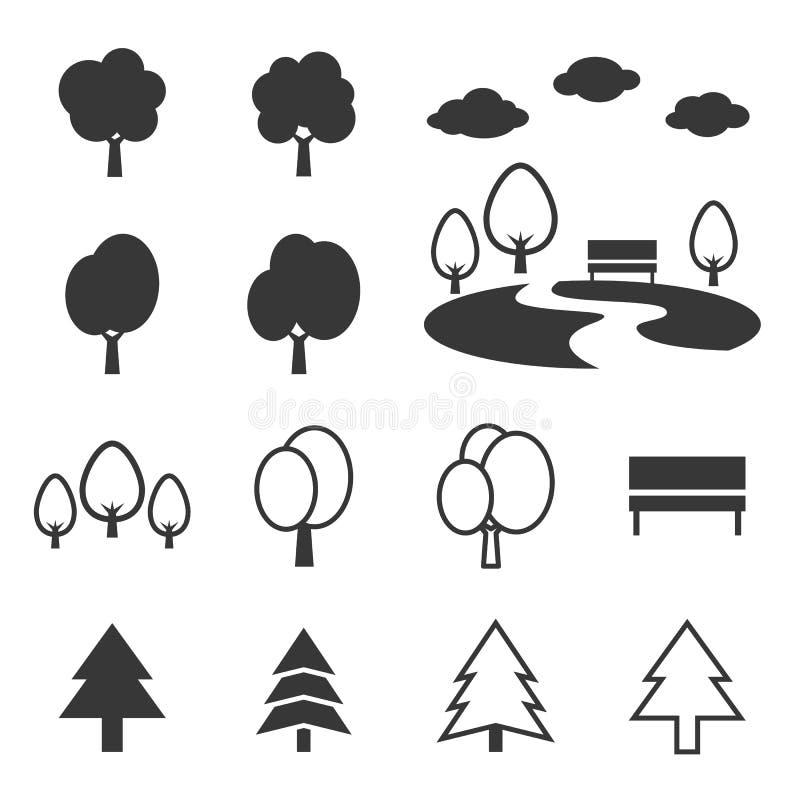 Grupo do ícone do parque da silhueta ilustração stock