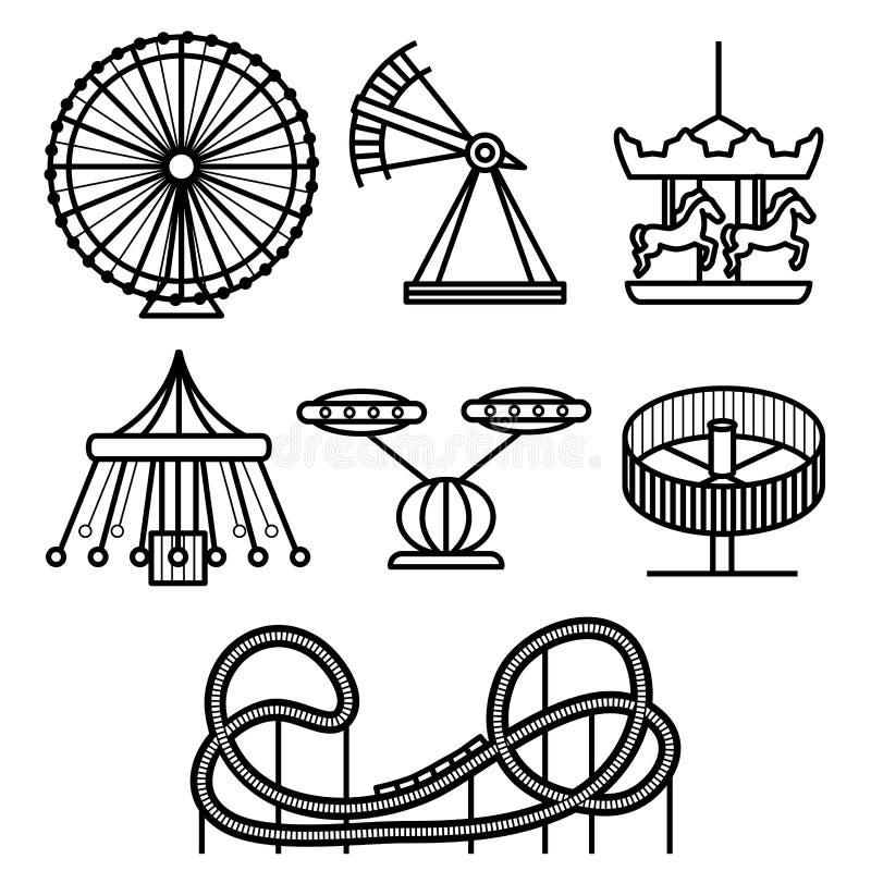 Grupo do ícone do parque de diversões do preto da silhueta dos desenhos animados Vetor ilustração do vetor