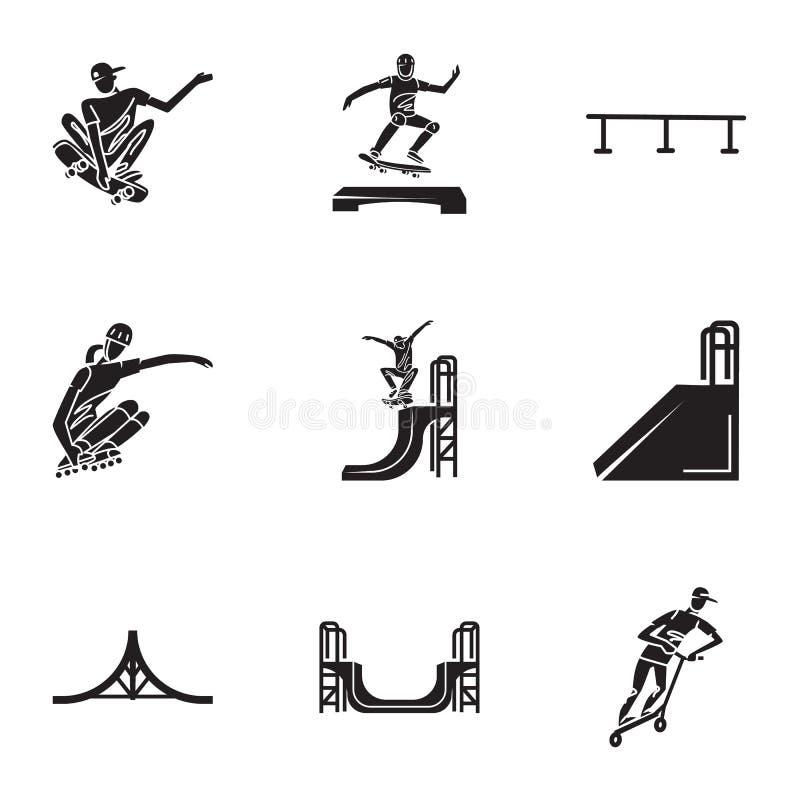 Grupo do ícone do parque do patim da cidade, estilo simples ilustração royalty free