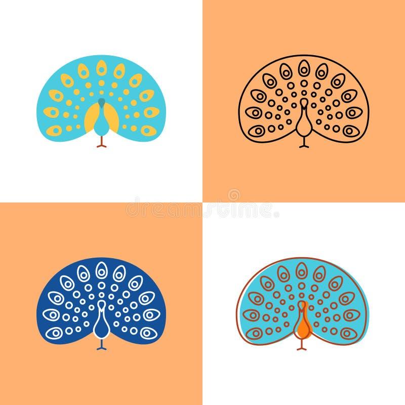 Grupo do ícone do pavão no plano e na linha estilos ilustração do vetor