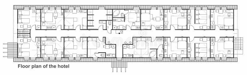 Grupo do ícone do planeamento do hotel Coleção dos símbolos da mobília usada em planos da arquitetura ilustração royalty free