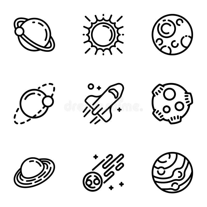 Grupo do ícone do planeta do espaço, estilo do esboço ilustração royalty free