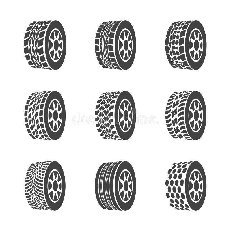 Grupo do ícone do pneu ou da roda do preto da silhueta dos desenhos animados Vetor ilustração stock