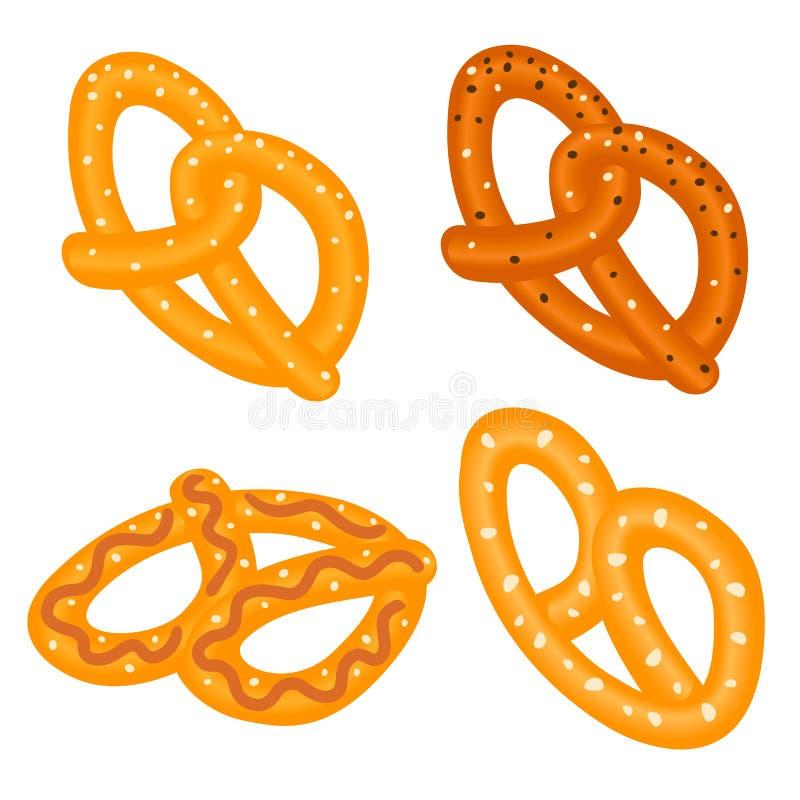 Grupo do ícone do pretzel de sal, estilo isométrico ilustração stock