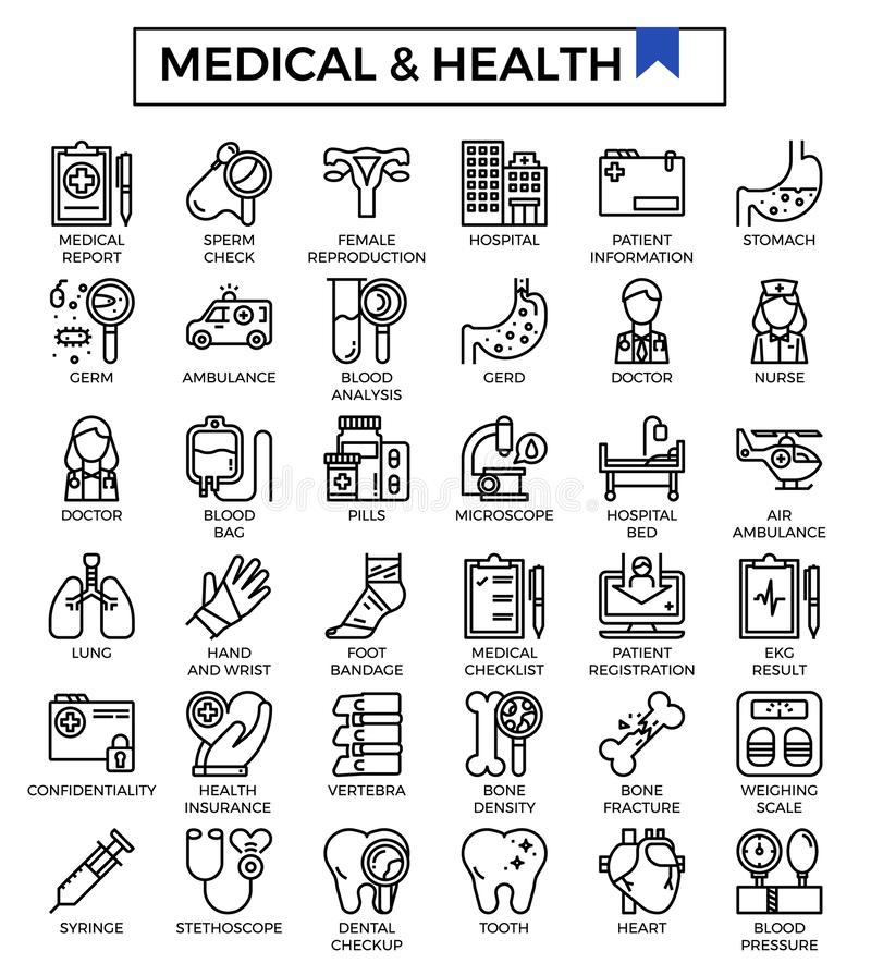 Grupo do ícone do projeto dos cuidados médicos e do esboço da saúde ilustração royalty free