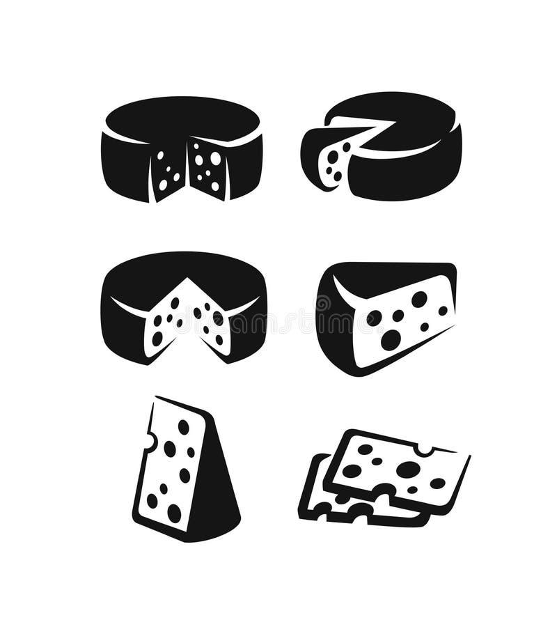Grupo do ícone do queijo ilustração stock
