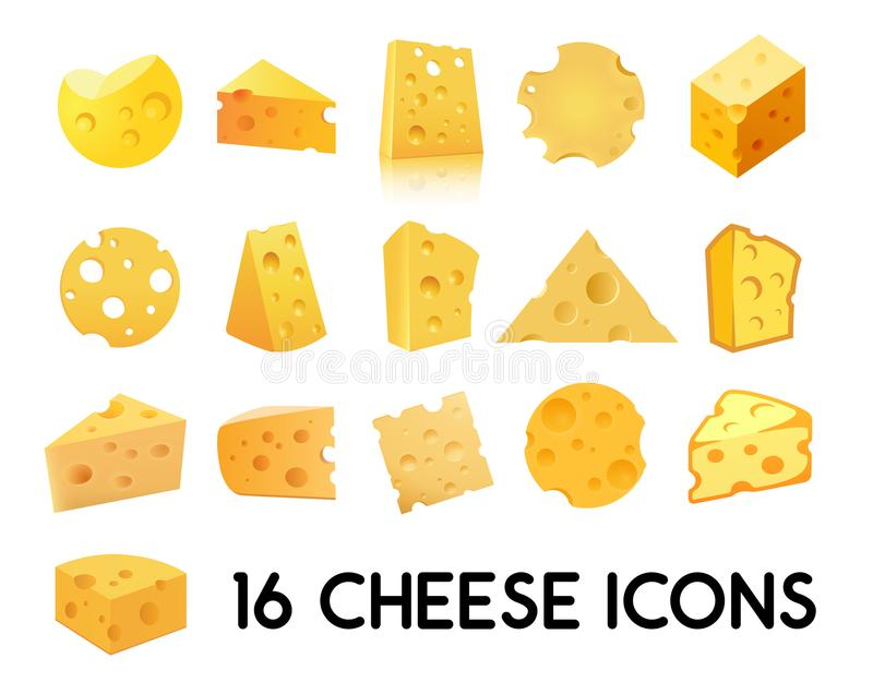 Grupo do ícone do queijo isolado no fundo branco Ilustração do vetor em EPS 10 ilustração do vetor