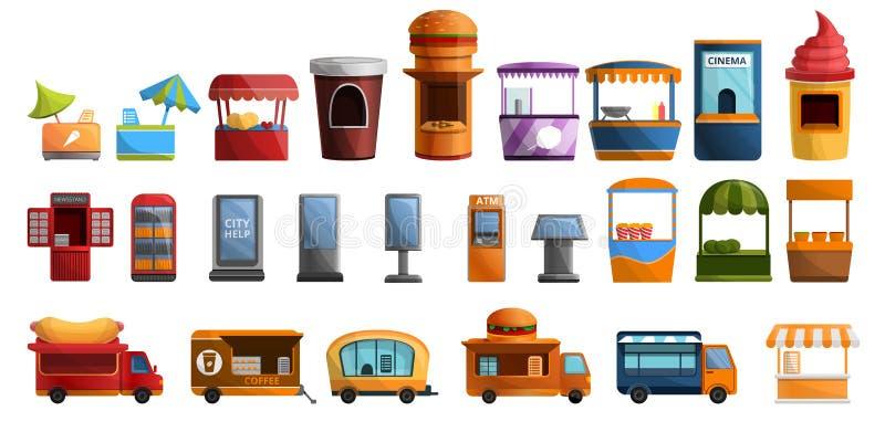 Grupo do ícone do quiosque da rua, estilo dos desenhos animados ilustração do vetor