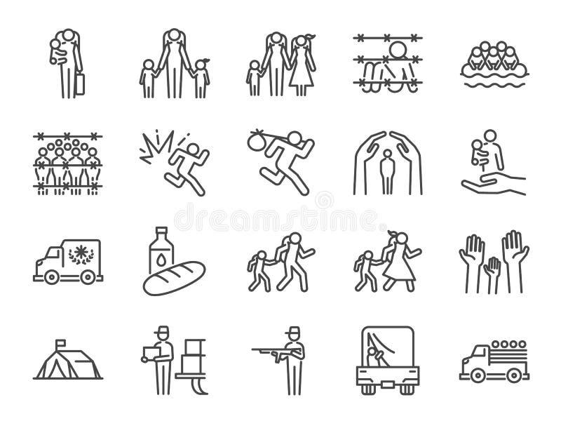 Grupo do ícone do refugiado Incluiu os ícones como pessoas deslocadas, asilo, abrigo, evacuam-nos, perseguição, escape, problema  ilustração do vetor