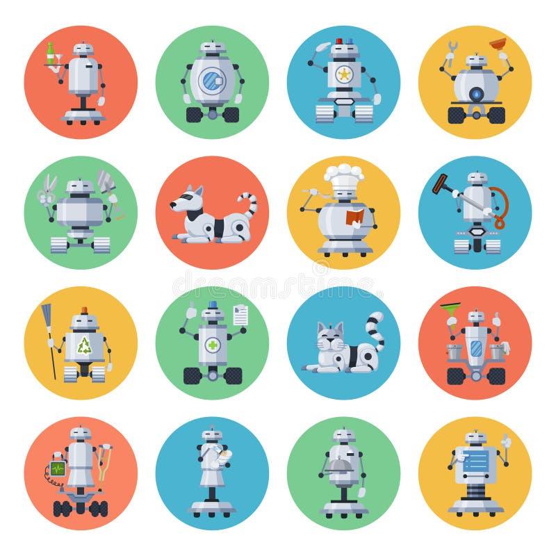 Grupo do ícone do robô ilustração stock