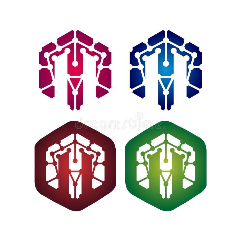 Grupo do ícone do símbolo do hexágono M Letter Network Technology ilustração do vetor