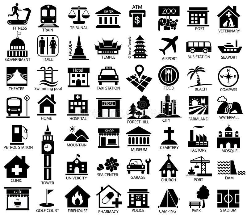 Grupo do ícone do símbolo do mapa ilustração do vetor