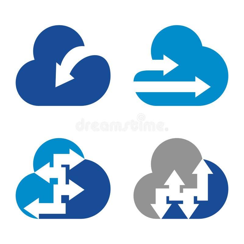 Grupo do ícone do símbolo do negócio do Internet do tempo da nuvem da seta ilustração do vetor