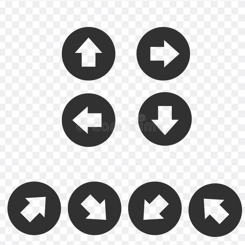 Grupo do ícone do sinal da seta Botão simples do Internet da forma do círculo com seta Estilo moderno contemporâneo ilustração royalty free