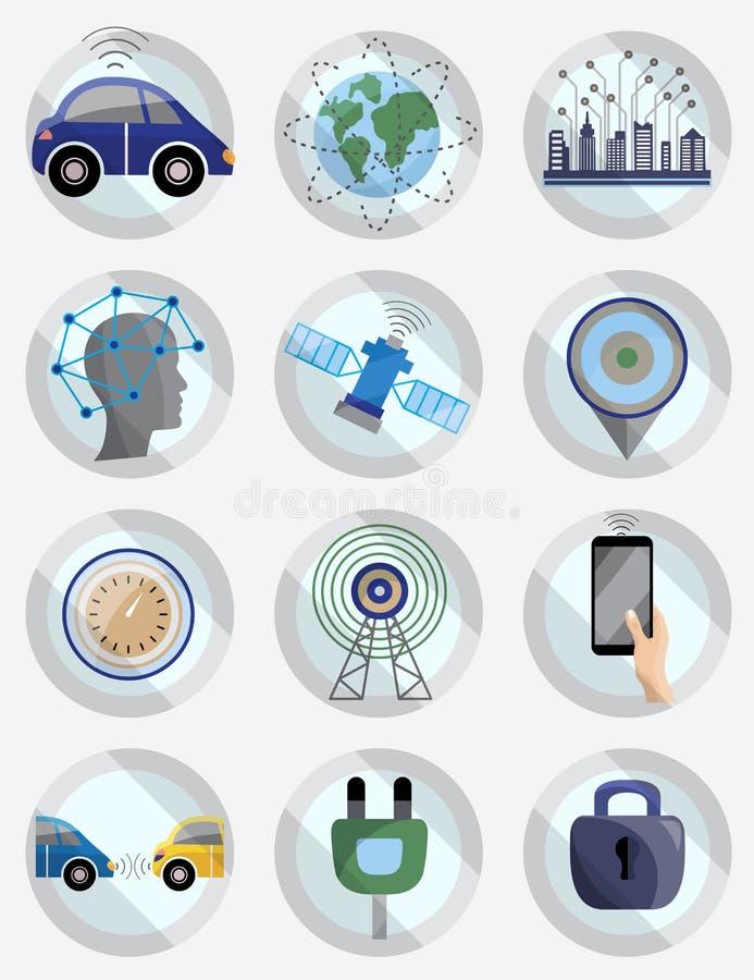 Grupo do ícone do sistema do auxílio do motorista Carro decondução robótico Driverless ilustração royalty free