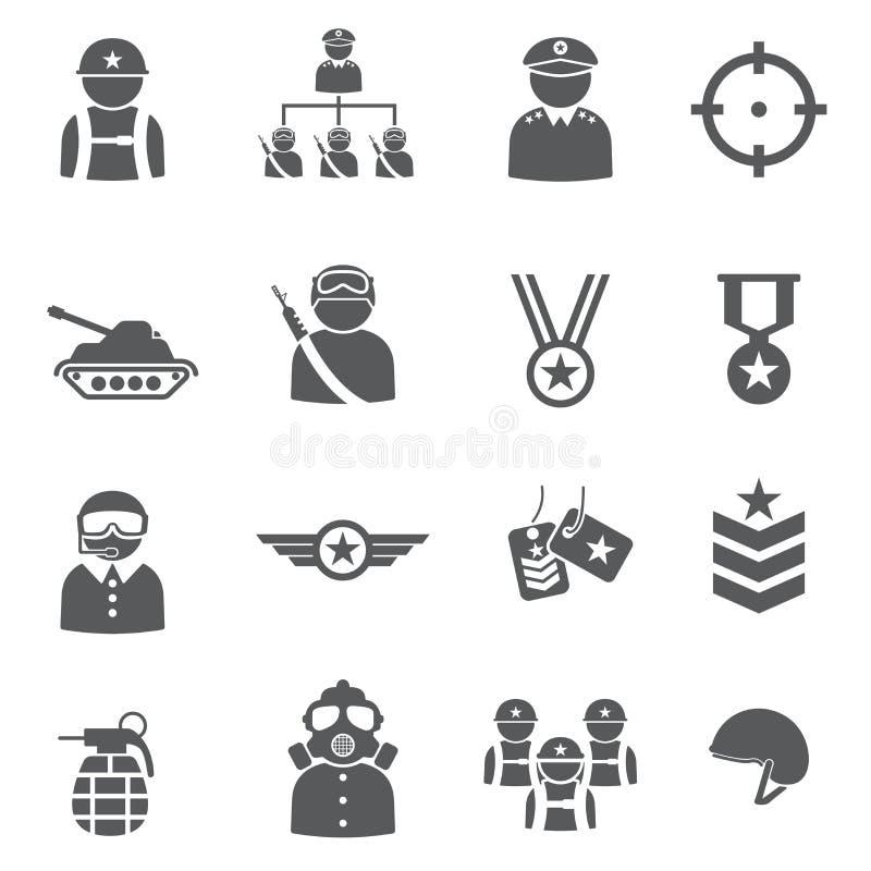 Grupo do ícone do soldado ilustração royalty free