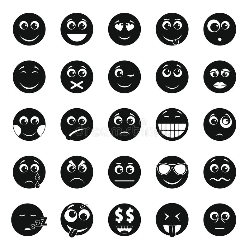 Grupo do ícone do sorriso, estilo simples ilustração royalty free