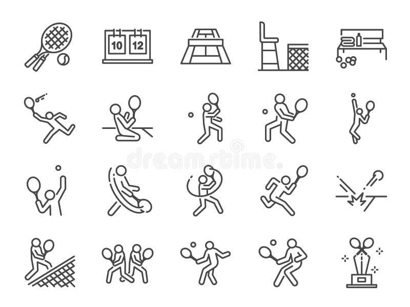 Grupo do ícone do tênis Ícones incluídos como tênis, jogador de tênis, fósforo, saque, golpe, revés e mais dos dobros ilustração do vetor