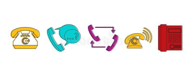 Grupo do ícone do telefone, estilo do esboço da cor ilustração do vetor