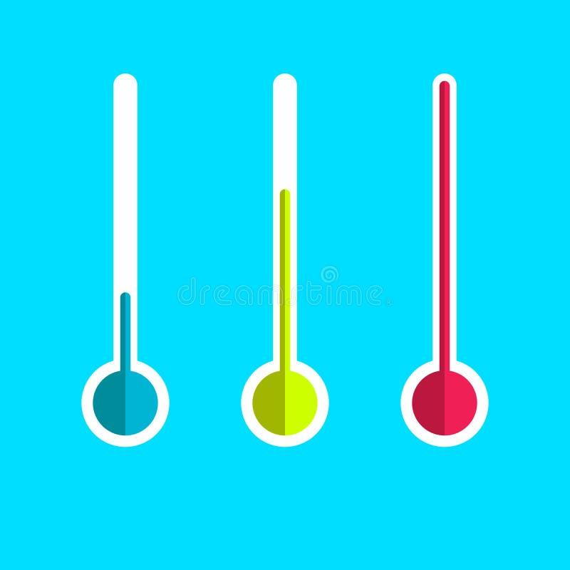 Grupo do ícone do termômetro sinal do vetor isolado no fundo azul EPS10 ilustração royalty free