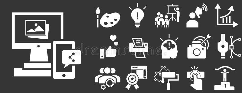 Grupo do ícone do tipo, estilo simples ilustração royalty free