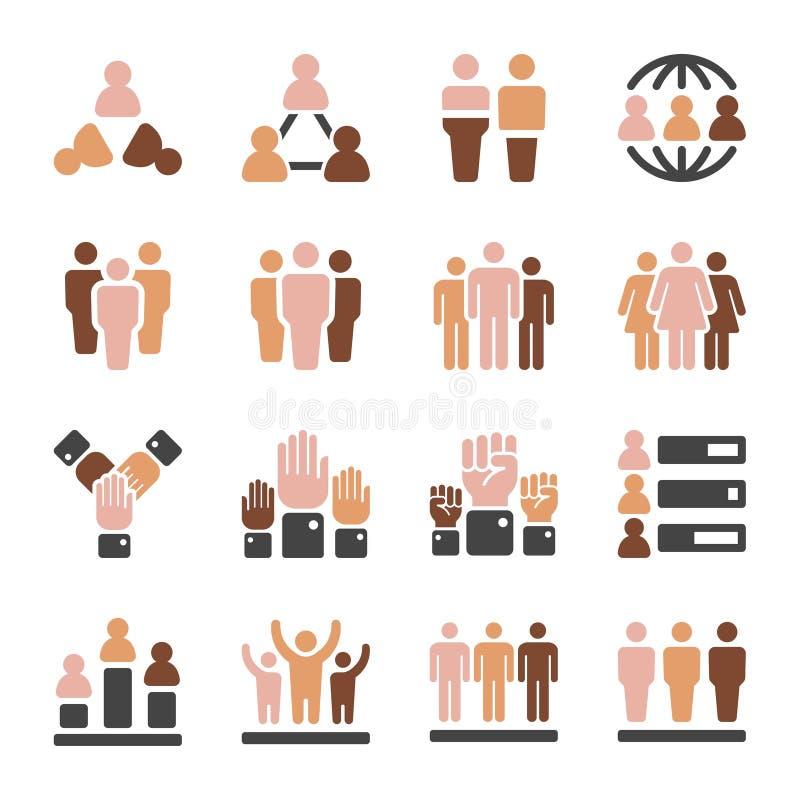Grupo do ícone do tom de pele da população ilustração stock