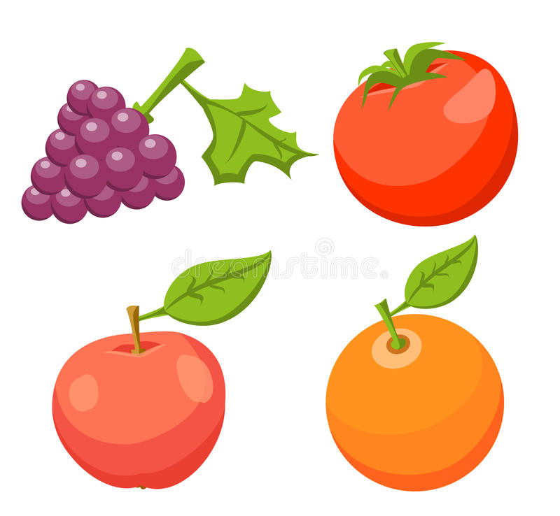 Grupo do ícone Tomate, Apple, laranja, uva ilustração do vetor