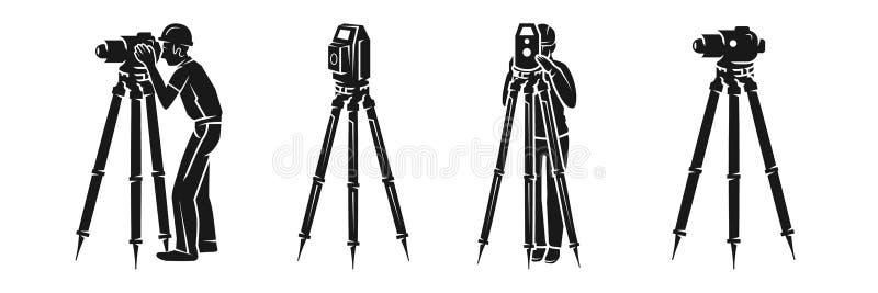 Grupo do ícone do topógrafo, estilo simples ilustração royalty free