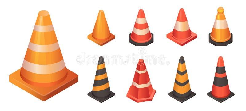 Grupo do ícone do tráfego do cone, estilo isométrico ilustração do vetor