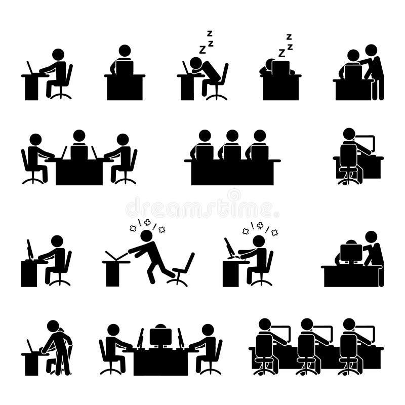 Grupo do ?cone do trabalho do computador e de escrit?rio Vetor ilustração stock