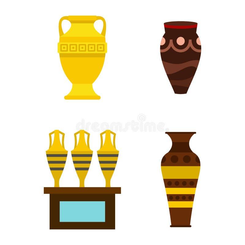 Grupo do ícone do vaso, estilo liso ilustração royalty free