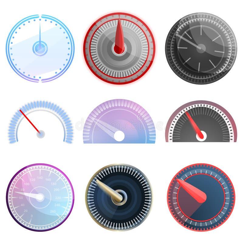 Grupo do ícone do velocímetro, estilo dos desenhos animados ilustração stock