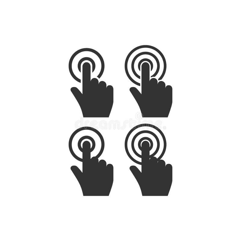Grupo do ícone do vetor do clique do ponteiro da mão do cursor ilustração stock