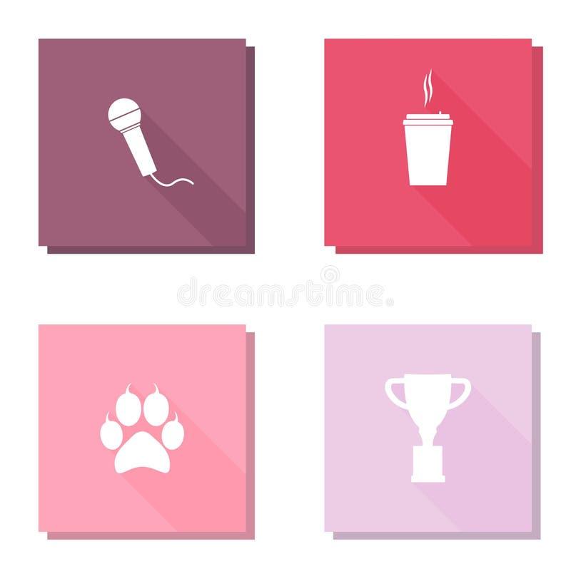 Grupo do ícone do vetor com impressão animal da pata da sombra longa, copo do troféu Imagem do vetor do microfone, xícara de café ilustração stock